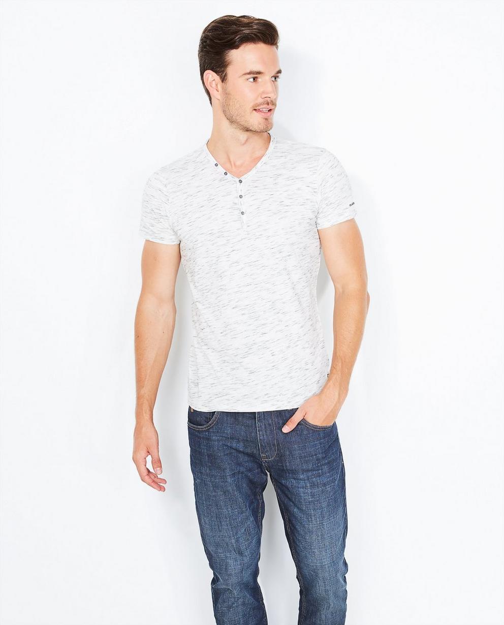 Lichtgrijs Henley T-shirt - slim fit - Quarterback